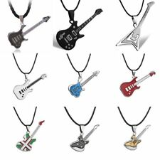 Cool Rock Stainless Steel  E-guitar Leather Chain Pendant Necklace Men Jewelry