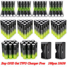 100PC 18650 3.7V Batteries Rechargeable Li-ion Battery+Charger For Flashlight F2