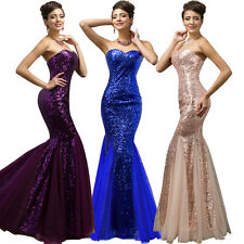 Ladies Long Evening Ball Gown Sequins Mermaid Wedding Cocktail Party Prom Dress