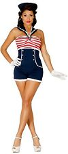 Ladies Sexy 50's Pin Up Sailor Navy Uniform Hen Do Fancy Dress Costume Outfit