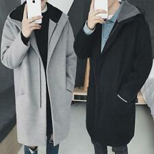 Mens Korean Loose Woolen Overcoat Zipper Thicken Mid Long Trench Coat Outwear