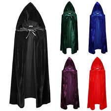 Velvet Hooded Cloak Cape Witch Wicca Robe Fancy Dress Halloween Vampire Gothic