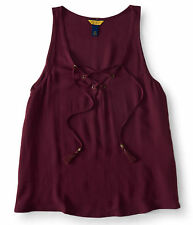 aeropostale womens prince & fox solid lace up tank