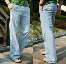 Fashion Mens Casual Loose Drawstring Waist Solid Linen Trousers Beach Pants w57