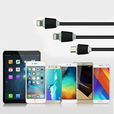 3 in1 Micro USB+Lightning Sync Data Charger Adapter Cable For android and IOS