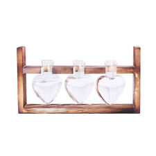 Hanging Glass Love Heart Flower Vase Terrarium Tabletop Decor with Wooden Tray