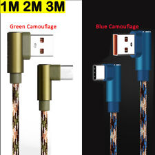 1-3M Nylon Braided Right Angle Plug For IOS Type C Micro USB Android Samsung Lot