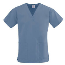 NEW Scrub Top Womens Nursing Medical Uniform Medium Large 2X HIP POCKET BLUE A20