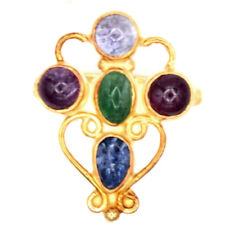 Orchid Jewelry Sterling Silver Ruby, Emerald & Sapphire & Tanzanite Gold Vermeil