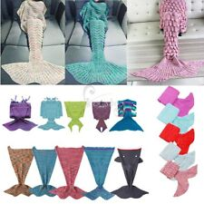 Mermaid Tail Blanket Soft Warm Knit Crochet Blankets Kid Adult Sofa Sleeping Bag