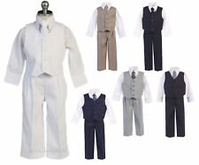 New Boys Vest Suit Outfit 4 Pc Wedding Party Holidays Birthday Baby Toddler Kids