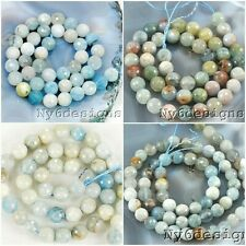 "Natural Blue Aquamarine Faceted Round Spacer Beads 15""  6mm 8mm 10mm 12mm"
