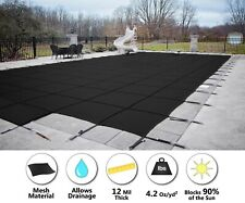 HPI Rectangle BLACK MESH In-Ground Swimming Pool Safety Cover w/ 4'x8' End Step