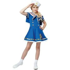 Child 50s Pin Up Sailor Girl Costume 1950s Retro Fancy Dress Kids Party Outfit