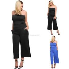 Women's Strapless Solid Wide Leg Casual Pocket One-Piece Jumpsuit Plus IS6H