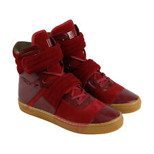 Radii Cylinder Mens Red Leather & Suede High Top Lace Up Sneakers Shoes