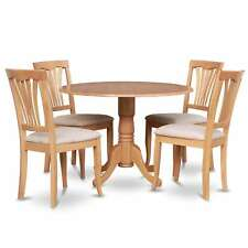 Oak Round Kitchen Table and 4 Kitchen Chairs 5-piece Dining Set