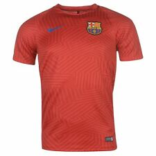 Nike FC Barcelona Pre Match Jersey Mens Red Football Soccer Top T-Shirt Shirt