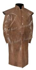 Men's Genuine Cowhide Leather Fashion Steampunk Riding Leather Trench Coat #572