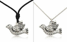 Unique Dove Bird of Peace Silver Pewter Charm Necklace Pendant Jewelry