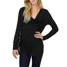 Woman Cowl Neck Long Sleeves Asymmetric Hem Casual Top