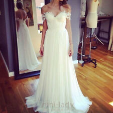 Newest Bohemian Wedding Gown Off-the-Shoulder Lace Chiffon Beach Bridal Dresses