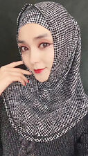 Fashion Muslim Women Hijab Hats Flower Print Scarf Two Piece Islamic Amira Caps