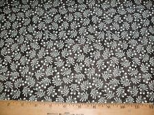 Windham Seville Quilt Fabric Of White Flowers Green Stems Shaded Brown BTY