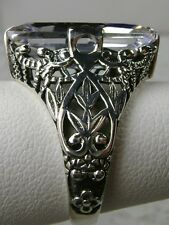 7ct White Gemstone Sterling Silver Victorian Filigree Ring Size {Made To Order}