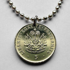Haiti 5 cents coin pendant Haitian French creole cannons Port-au-Prince n002068
