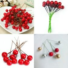 50Pcs Christmas Tree Artificial Red Holly Berry Pick Branch Wreath DIY Ornaments
