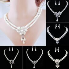1Set Fashion Crystal Pearl Earrings Pendant Necklace Jewelry Women Wedding Gift