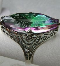 13ct Marquise *Mystic Topaz* Deco Filigree Sterling Silver Ring {Made To Order}