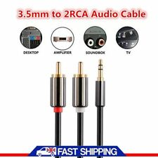 1 Meter Mini Gold Plated Male Aux 3.5mm Jack Audio Plug to twin 2X RCA Cable HO