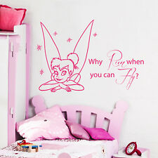 Tinkerbell Wall Decal Quote Vinyl Sticker Nursery Decal Girl Bedroom Decor KG844