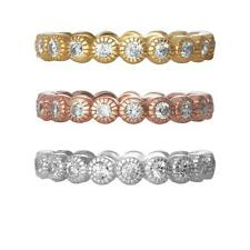 925 STERLING SILVER BEZEL ETERNITY CZ RING WHITE YELLOW OR ROSE GOLD OVER SILVER