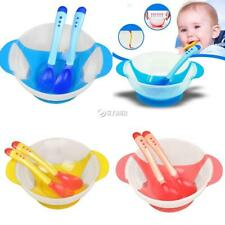 New Baby Kids Child Feeding Bowl Binaural Set with Spoon Fork Feeding DZ88