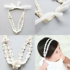 Baby Girls Kids Toddler Rhinestone Floral Lace Bow Hairband Stretch S0BZ