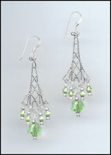 Sparkling Silver Earrings made with Swarovski PERIDOT GREEN Crystals