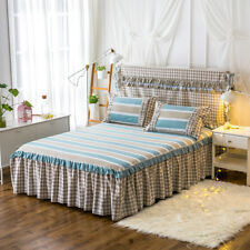 Striped Checked Bed Skirt Pleated Valance King/Queen Size Pillow Cases Bed Set
