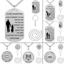 Beauty Key Chain Dog Tag Pendant Necklace Jewelry Stainless Steel Family Gift