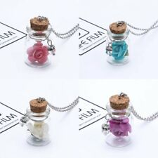 Fashion Glow In The Dark Rose Flower Bottle Pendant Necklace Jewelry Party Gift