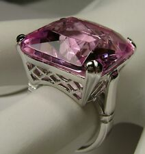 20ct *Pink Topaz* Solid Sterling Silver Victorian Filigree Ring {Made To Order}