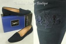 YSL YVES SAINT LAURENT Paris Italy Navy Canvas Leather Classic Flats Shoes 9 N