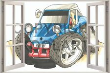 Huge 3D Koolart Window view Vw Beach Buggy Wall Sticker Poster 1699