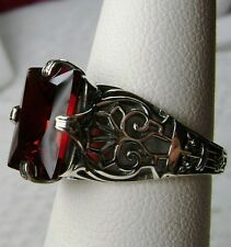 3ct *Garnet* Solid Sterling Silver Victorian/Deco Filigree Ring {Made To Order}