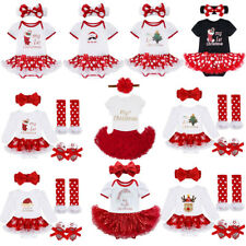 Newborn Baby Girl My First Christmas Tree/Santa Tutu Dress Romper Outfit Costume