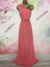 VICKY MARTIN stretchy MAXI/FULL LENGTH CORAL DRESS SIZE 14-16 wedding/prom/ball