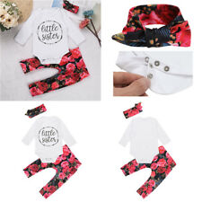 Baby Girls Little Sister Bodysuit Tops with Pants Bowk Headband Outfits Clothes