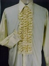 VINTAGE RUFFLED TUXEDO TUX SHIRT RETRO LIGHT YELLOW   MADE IN USA MANY SIZES